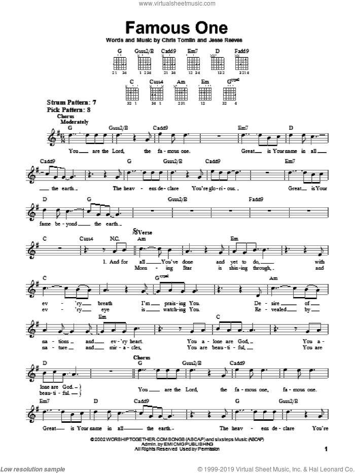 Famous One sheet music for guitar solo (chords) by Chris Tomlin and Jesse Reeves, easy guitar (chords)