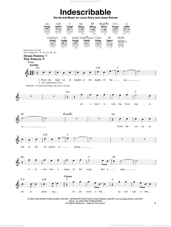 Indescribable sheet music for guitar solo (chords) by Chris Tomlin, Jesse Reeves and Laura Story, easy guitar (chords)
