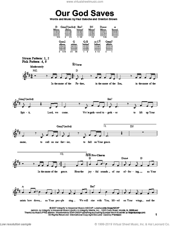 Our God Saves sheet music for guitar solo (chords) by Paul Baloche and Brenton Brown, easy guitar (chords)