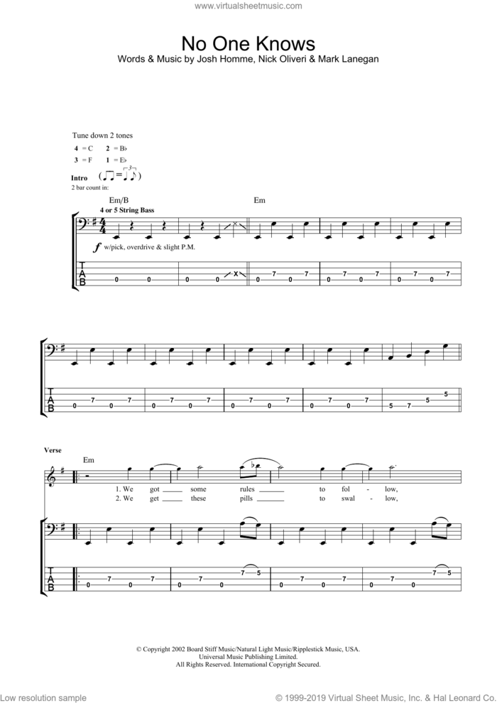 No One Knows sheet music for bass (tablature) (bass guitar) by Josh Homme, Queens Of The Stone Age, Mark Lanegan and Nick Oliveri, intermediate skill level