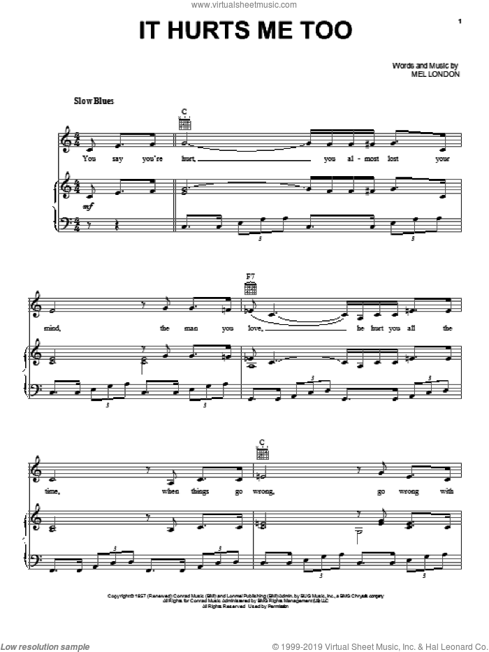 It Hurts Me Too sheet music for voice, piano or guitar by Elmore James, Eric Clapton and Mel London, intermediate skill level