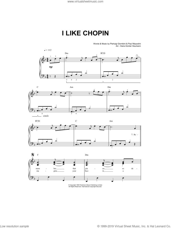 I Like Chopin sheet music for piano solo by Gazebo, Paul Mazzolini and Pierluigi Giombini, easy skill level