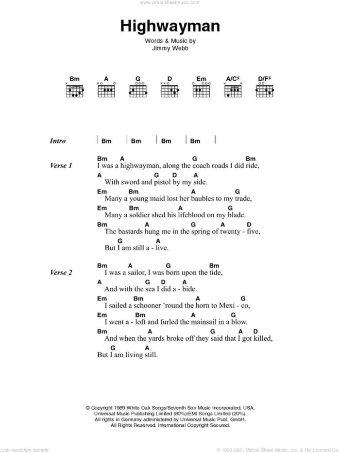 The Highwayman sheet music for guitar (chords) by Johnny Cash and Jimmy Webb, intermediate skill level