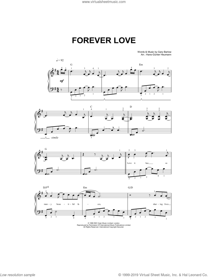 Forever Love sheet music for piano solo by Gary Barlow and Hans-Gunter Heumann, easy skill level