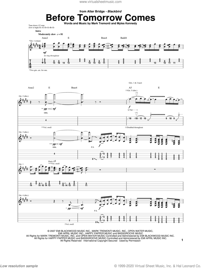 Before Tomorrow Comes sheet music for guitar (tablature) by Alter Bridge, Mark Tremonti and Myles Kennedy, intermediate skill level