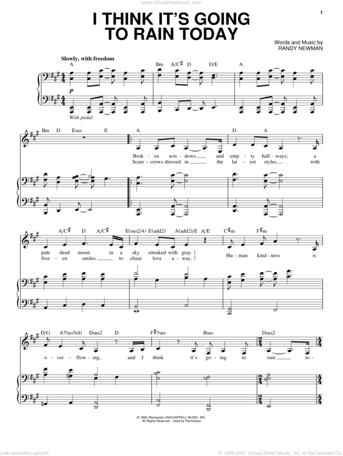 I Think It's Going To Rain Today sheet music for voice and piano by Audra McDonald and Randy Newman, intermediate skill level