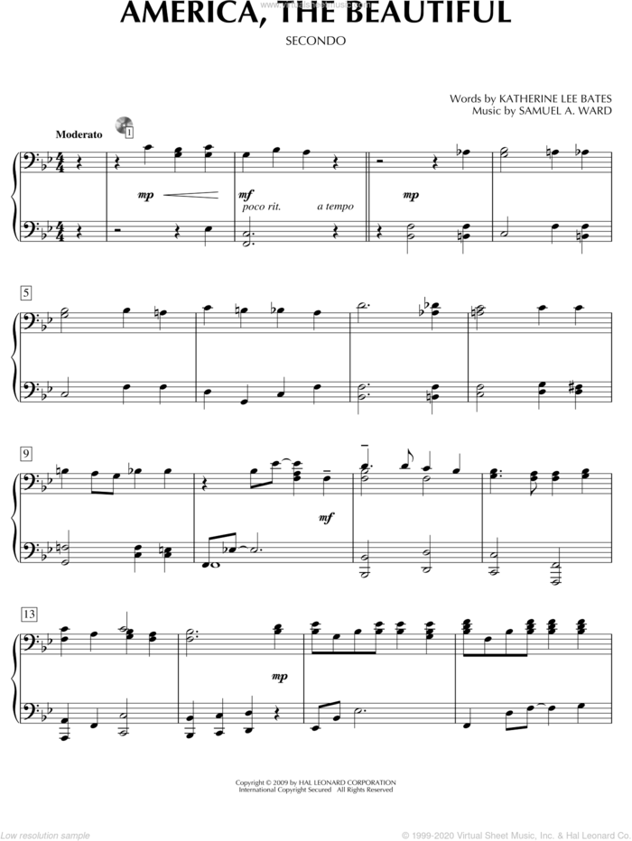 America, The Beautiful sheet music for piano four hands by Katherine Lee Bates and Samuel Augustus Ward, intermediate skill level