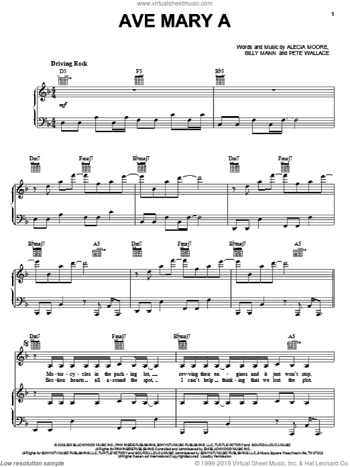 Ave Mary A sheet music for voice, piano or guitar by Alecia Moore, Miscellaneous, Billy Mann and Pete Wallace, intermediate skill level