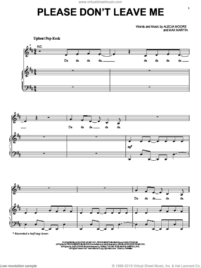 Please Don't Leave Me sheet music for voice, piano or guitar by Max Martin, Miscellaneous and Alecia Moore, intermediate skill level