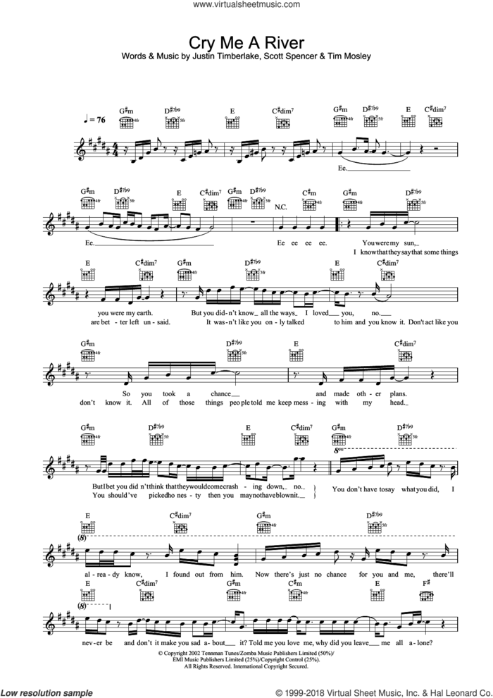 Cry Me A River sheet music for voice and other instruments (fake book) by Justin Timberlake, Scott Spencer and Tim Mosley, intermediate skill level