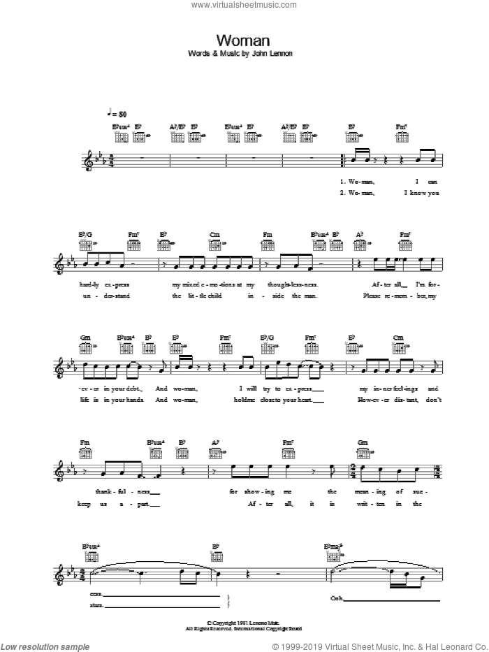 Woman sheet music for voice and other instruments (fake book) by John Lennon, intermediate skill level
