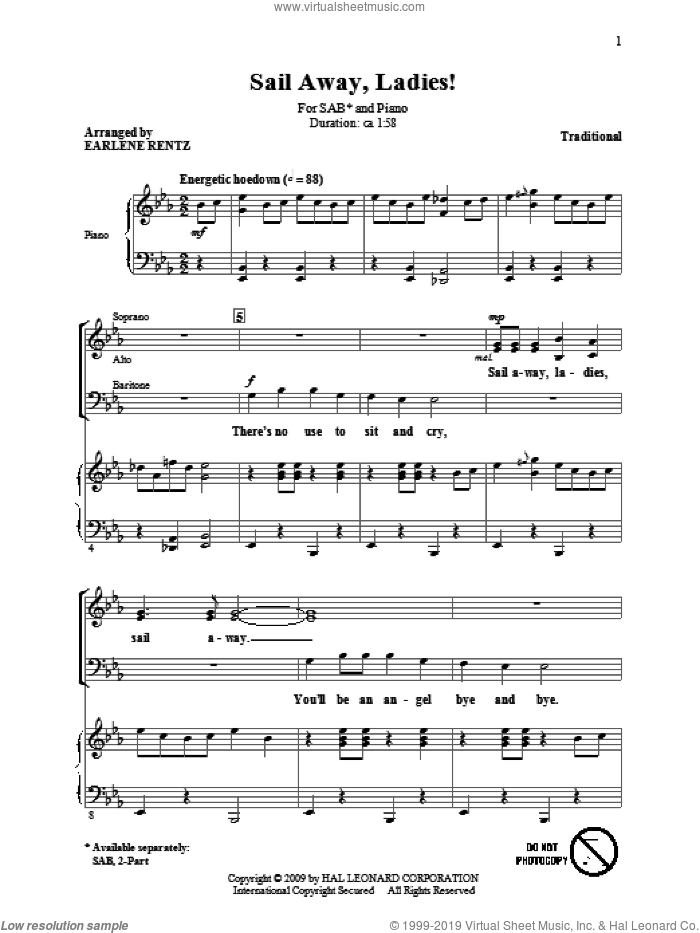Sail Away, Ladies! sheet music for choir (SAB: soprano, alto, bass) by Earlene Rentz and Miscellaneous, intermediate skill level