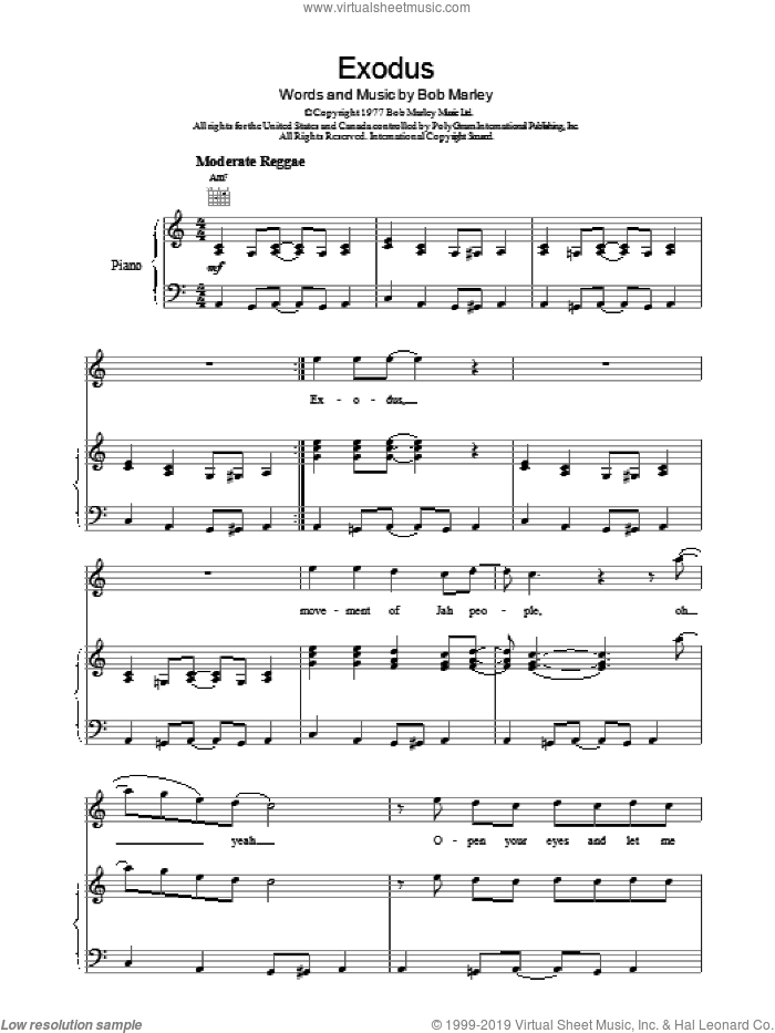 Exodus sheet music for voice, piano or guitar by Bob Marley, intermediate skill level