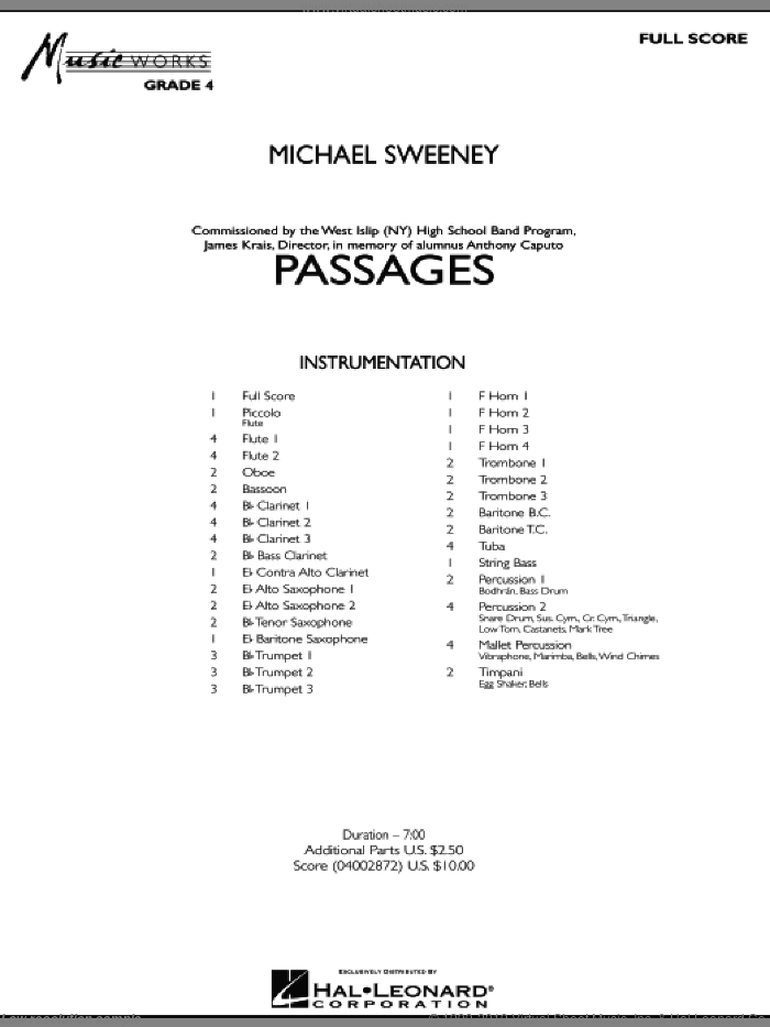 Passages (COMPLETE) sheet music for concert band by Michael Sweeney, classical score, intermediate skill level