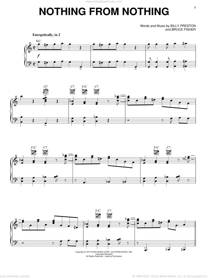 Nothing From Nothing sheet music for voice, piano or guitar by Billy Preston and Bruce Fisher, intermediate skill level