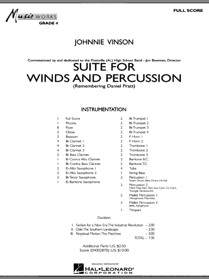 Suite for Winds and Percussion (COMPLETE) sheet music for concert band by Johnnie Vinson, intermediate skill level
