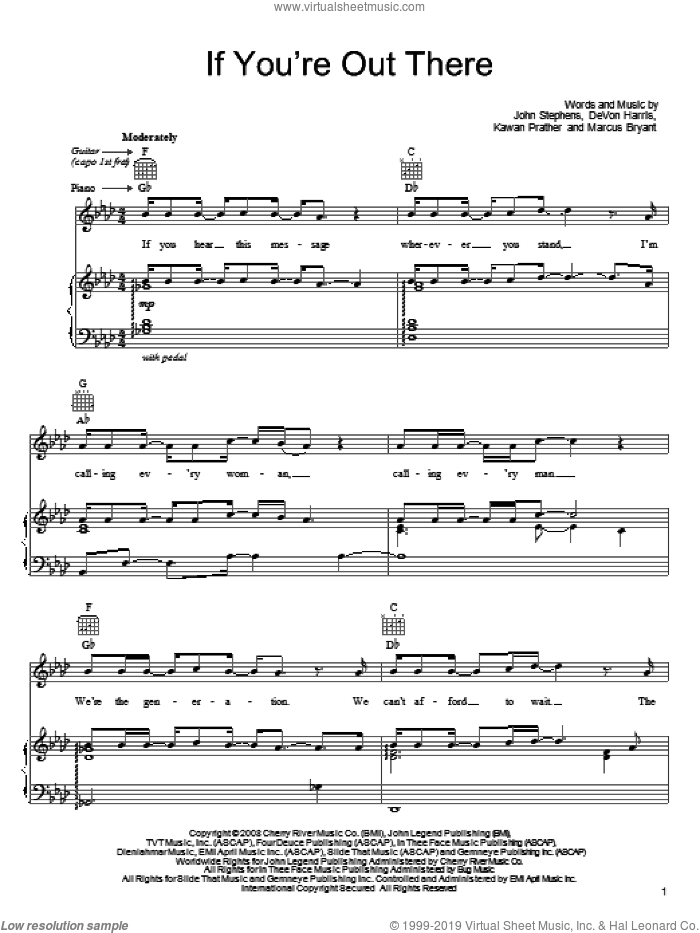 If You're Out There sheet music for voice, piano or guitar by John Legend, DeVon Harris, John Stephens, Kawan Prather and Marcus Bryant, intermediate skill level