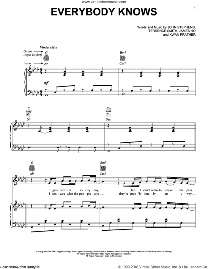 Everybody Knows sheet music for voice, piano or guitar by John Legend, James Ho, John Stephens, Kawan Prather and Terrence Smith, intermediate skill level