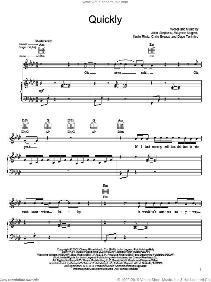 Quickly sheet music for voice, piano or guitar by John Legend, Chris Breaux, Dapo Torimiro, John Stephens, Kevin Risto and Waynne Nugent, intermediate skill level