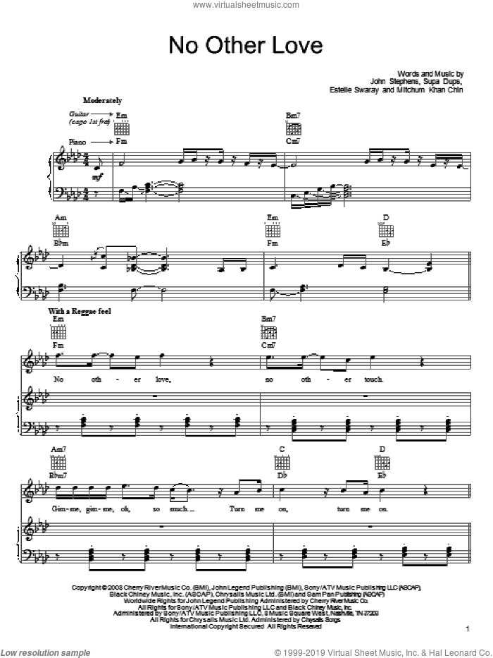 No Other Love sheet music for voice, piano or guitar by John Legend, Estelle Swaray, John Stephens, Mitchum Khan Chin and Supa Dups, intermediate skill level