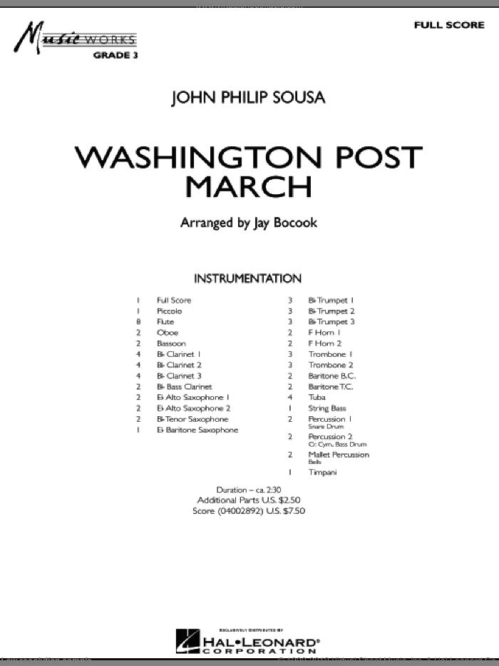 Washington Post March (COMPLETE) sheet music for concert band by Jay Bocook and John Philip Sousa, intermediate skill level