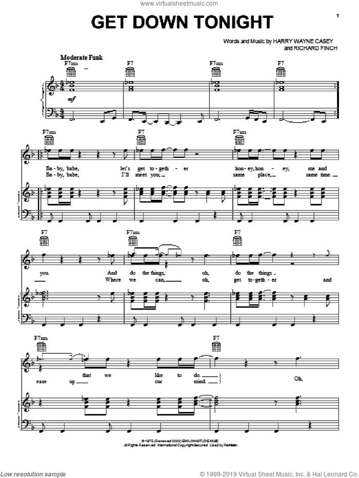 Get Down Tonight sheet music for voice, piano or guitar by KC & The Sunshine Band, Harry Wayne Casey and Richard Finch, intermediate skill level