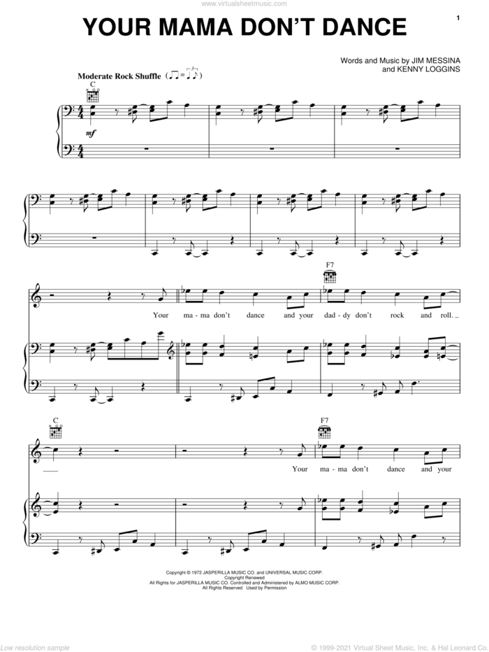 Your Mama Don't Dance sheet music for voice, piano or guitar by Loggins And Messina, Poison, Jim Messina and Kenny Loggins, intermediate skill level
