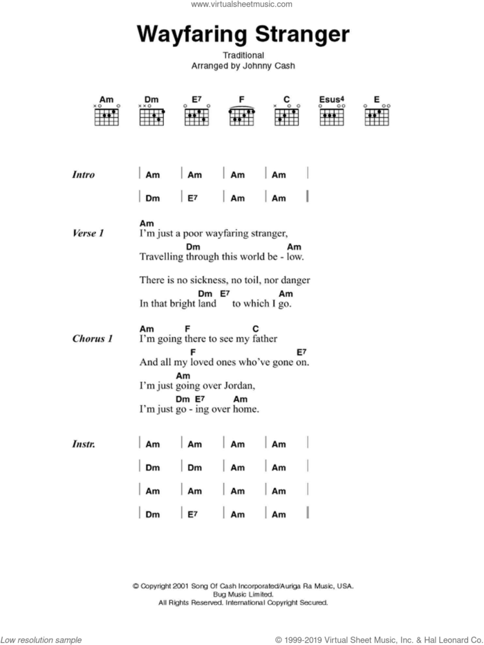 Wayfaring Stranger sheet music for guitar (chords) by Johnny Cash and Miscellaneous, intermediate skill level