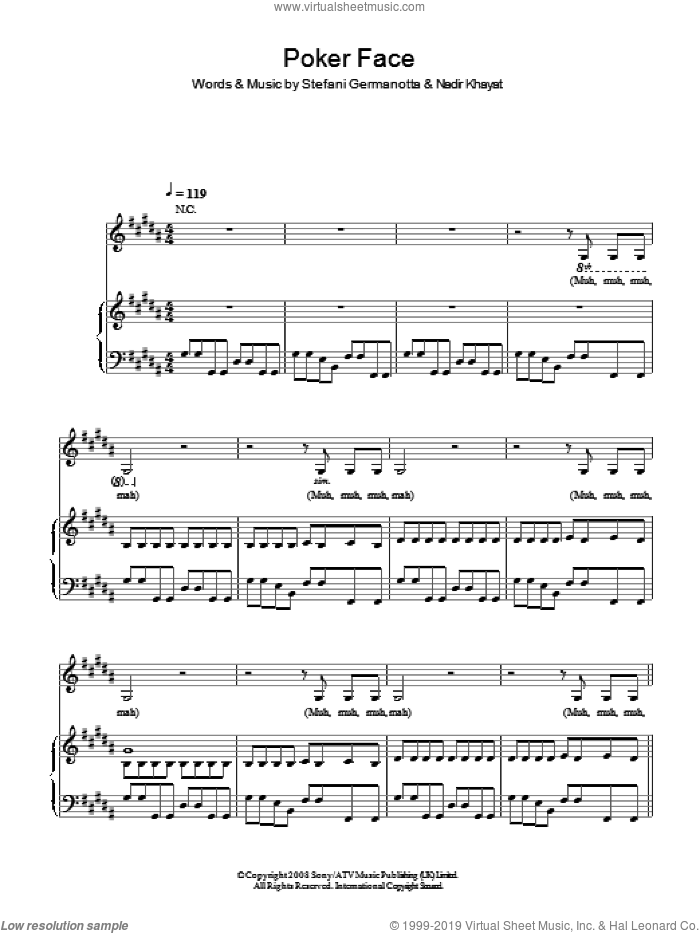 Poker Face sheet music for voice, piano or guitar by Lady GaGa and Nadir Khayat, intermediate skill level