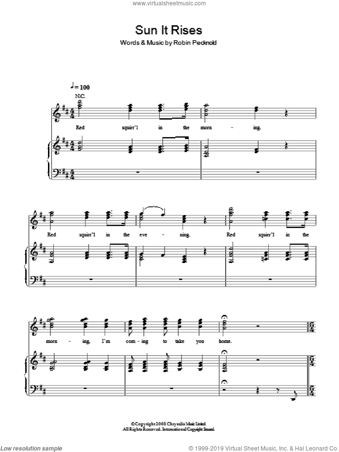 Sun It Rises sheet music for voice, piano or guitar by Fleet Foxes and Robin Pecknold, intermediate skill level