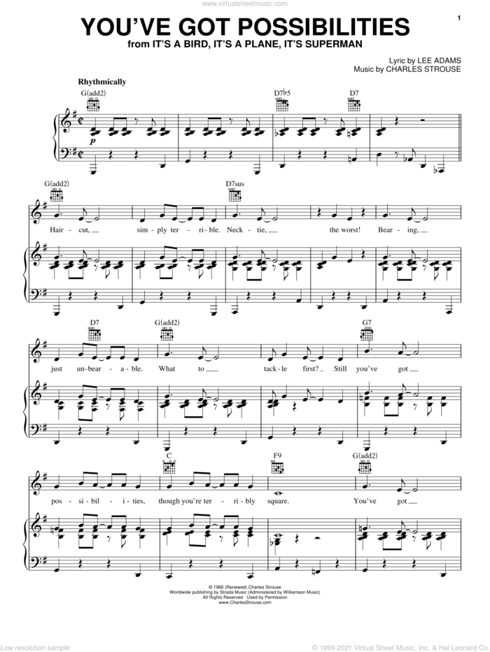 You've Got Possibilities sheet music for voice, piano or guitar by Charles Strouse and Lee Adams, intermediate skill level