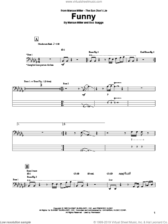 Funny sheet music for bass (tablature) (bass guitar) by Marcus Miller and Boz Scaggs, intermediate skill level