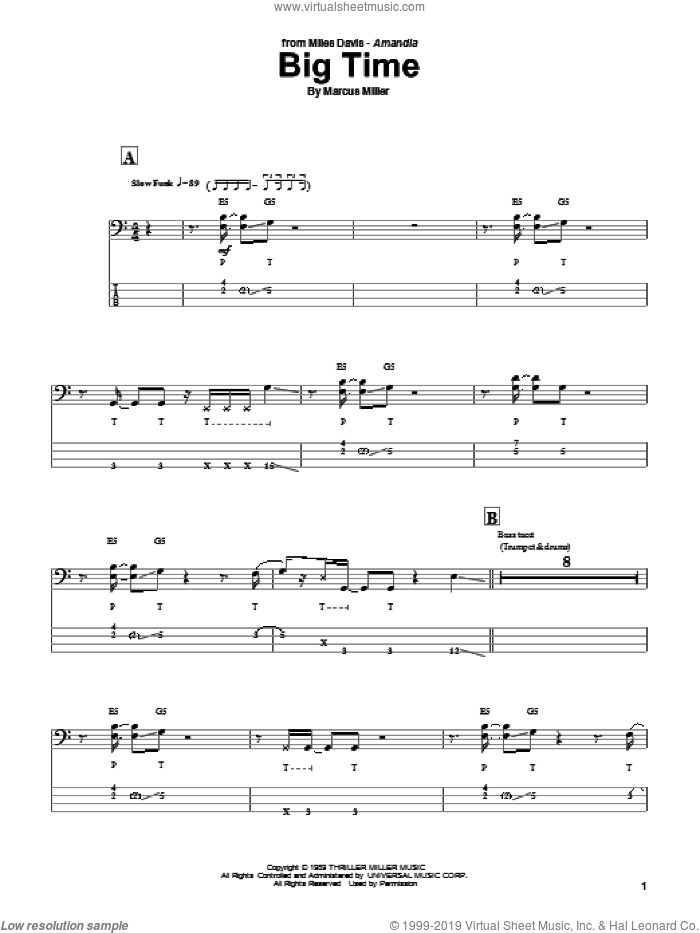 Big Time sheet music for bass (tablature) (bass guitar) by Marcus Miller and Miles Davis, intermediate skill level