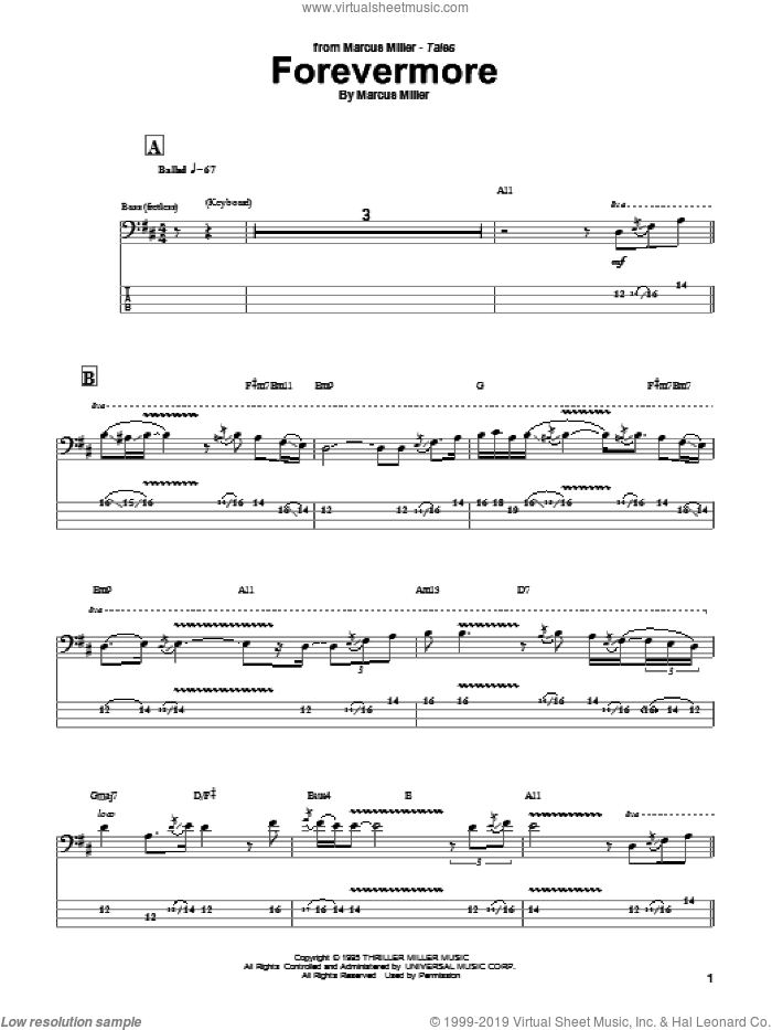 Forevermore sheet music for bass (tablature) (bass guitar) by Marcus Miller, intermediate skill level