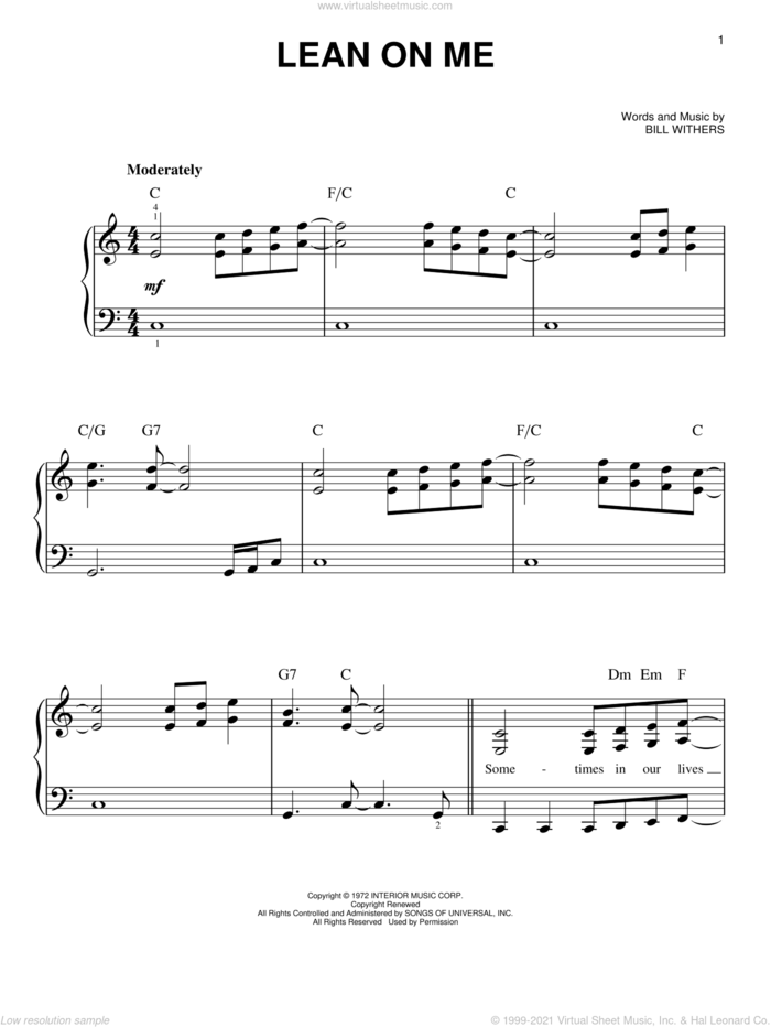 Lean On Me, (easy) sheet music for piano solo by Bill Withers and Miscellaneous, easy skill level