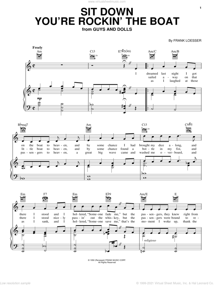 Sit Down You're Rockin' The Boat sheet music for voice, piano or guitar by Frank Loesser and Guys And Dolls (Musical), intermediate skill level
