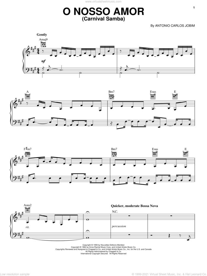 O Nosso Amor (Carnaval Samba) sheet music for voice, piano or guitar by Antonio Carlos Jobim, intermediate skill level
