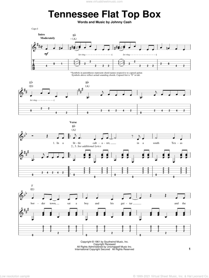 Tennessee Flat Top Box sheet music for guitar (tablature, play-along) by Johnny Cash, intermediate skill level
