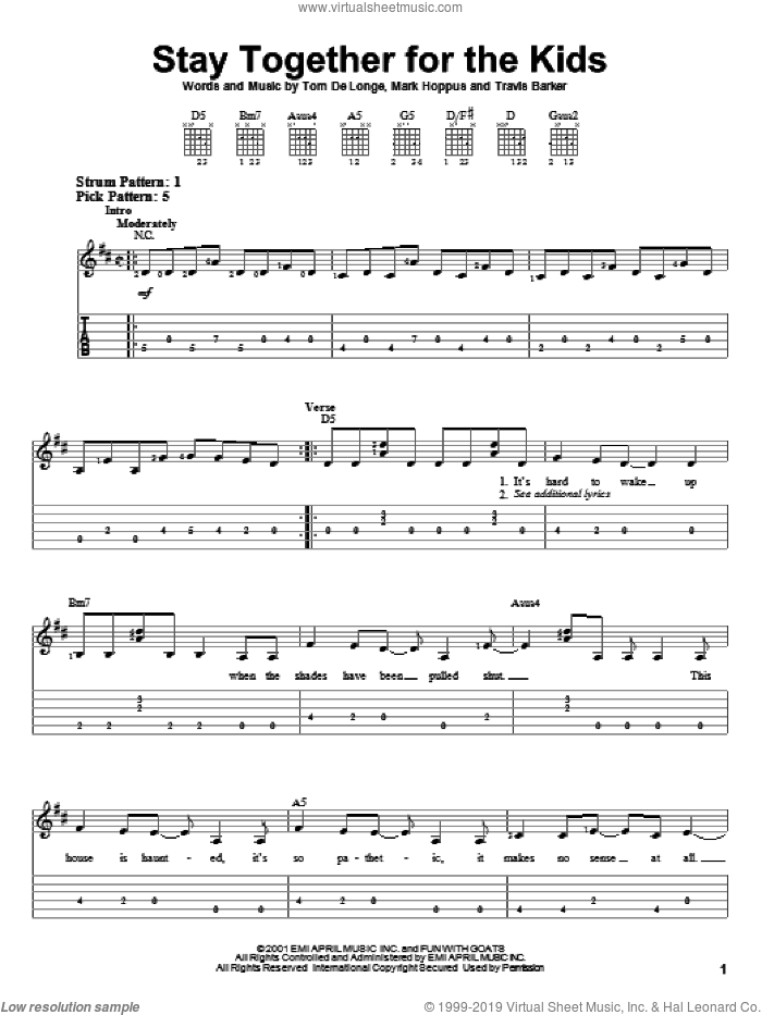 Stay Together For The Kids sheet music for guitar solo (easy tablature) by Blink-182, Mark Hoppus, Tom DeLonge and Travis Barker, easy guitar (easy tablature)