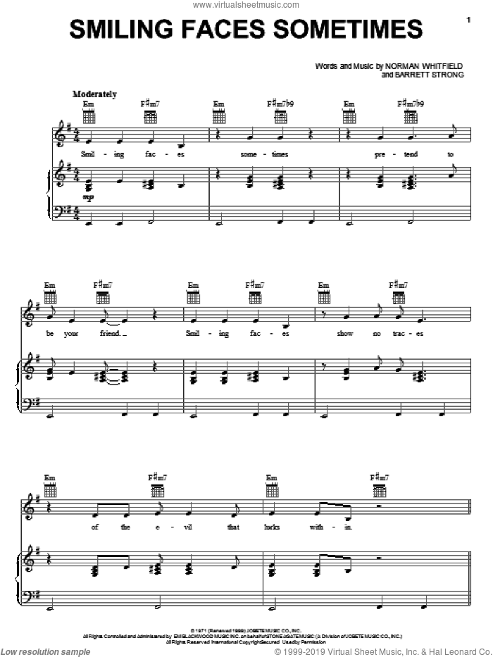 Smiling Faces Sometimes sheet music for voice, piano or guitar by The Undisputed Truth, Barrett Strong and Norman Whitfield, intermediate skill level