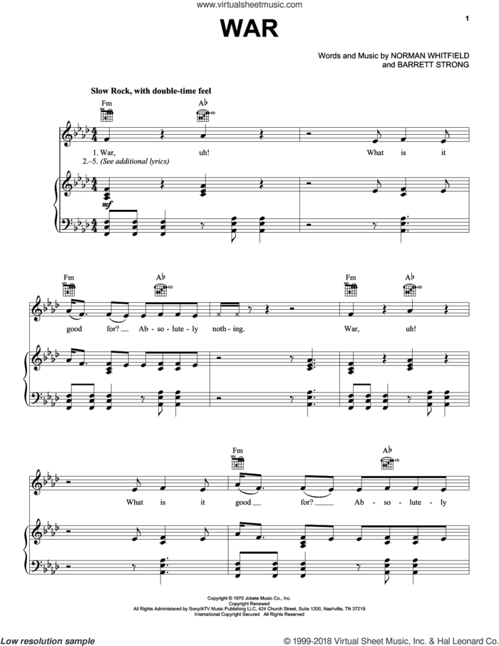 War sheet music for voice, piano or guitar by Edwin Starr, Bruce Springsteen, The Temptations, Barrett Strong and Norman Whitfield, intermediate skill level