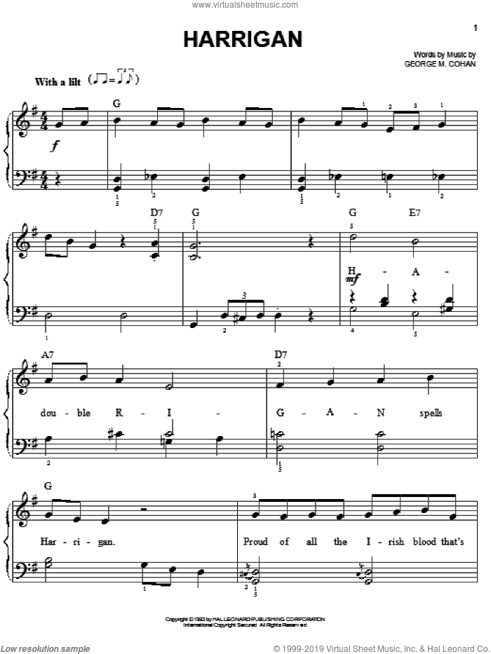 Harrigan sheet music for piano solo by George M. Cohan and George Cohan, easy skill level