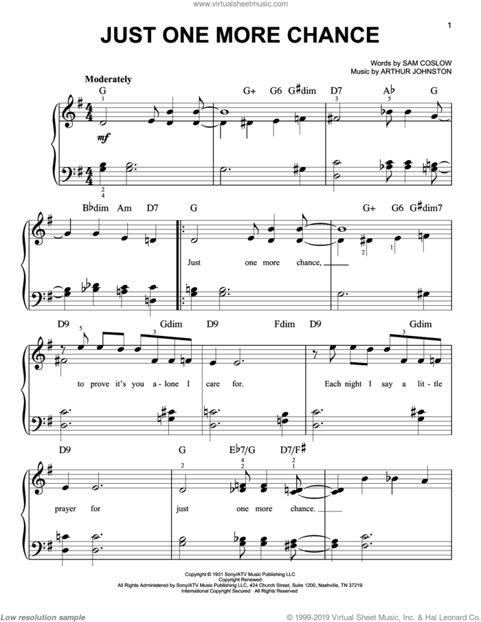 Just One More Chance sheet music for piano solo by Bing Crosby, Arthur Johnston and Sam Coslow, easy skill level