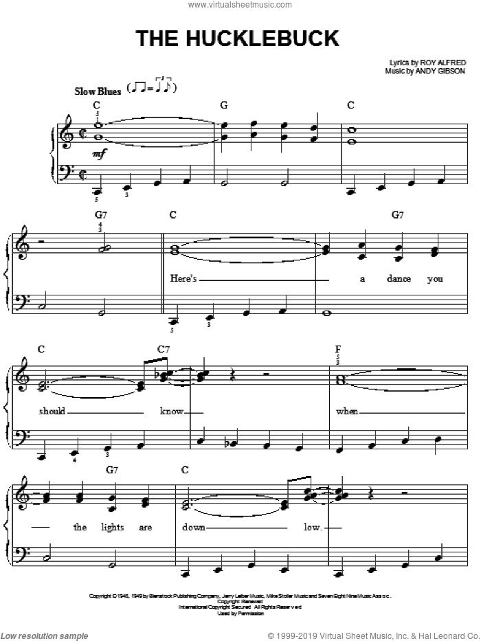 The Hucklebuck sheet music for piano solo by Andy Gibson and Roy Alfred, easy skill level