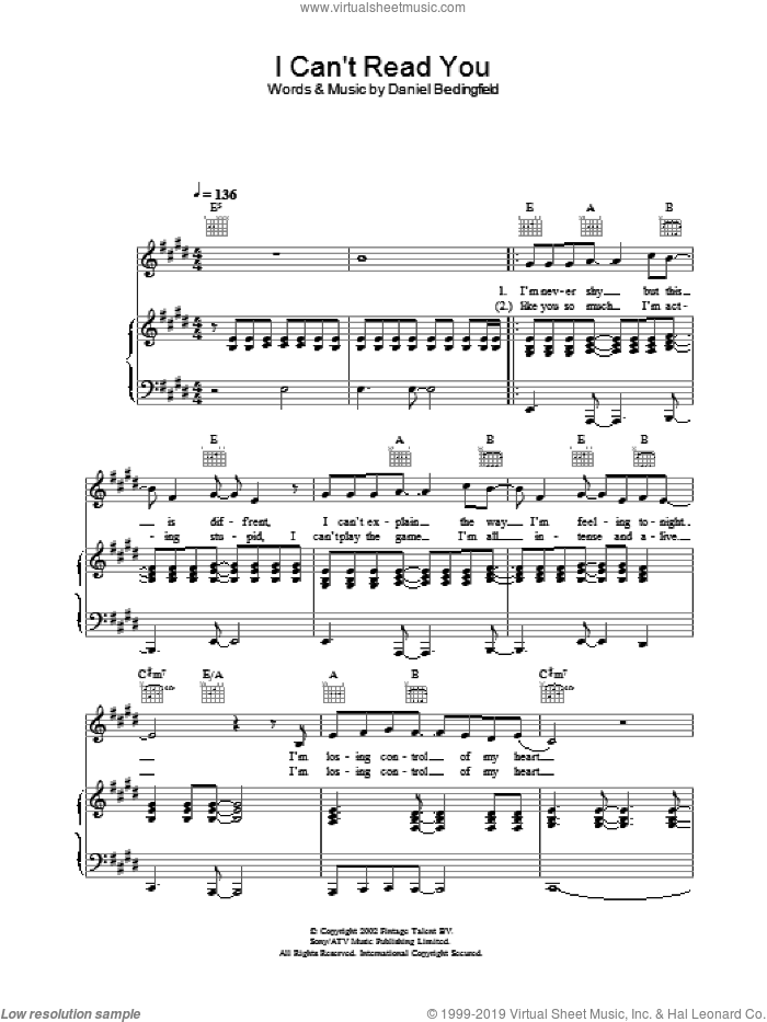 I Can't Read You sheet music for voice, piano or guitar by Daniel Bedingfield, intermediate skill level