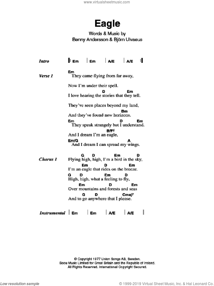 Eagle sheet music for guitar (chords) by ABBA, Benny Andersson and Bjorn Ulvaeus, intermediate skill level