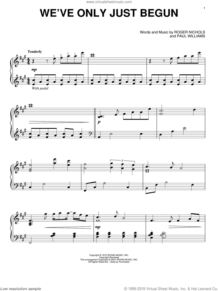 We've Only Just Begun sheet music for piano solo by Carpenters, Paul Williams and Roger Nichols, wedding score, intermediate skill level