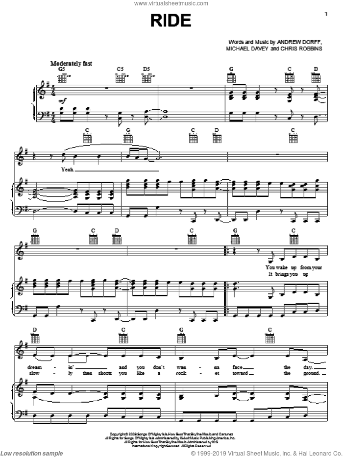 Ride sheet music for voice, piano or guitar by Martina McBride, Andrew Dorff, Chris Robbins and Michael Davey, intermediate skill level