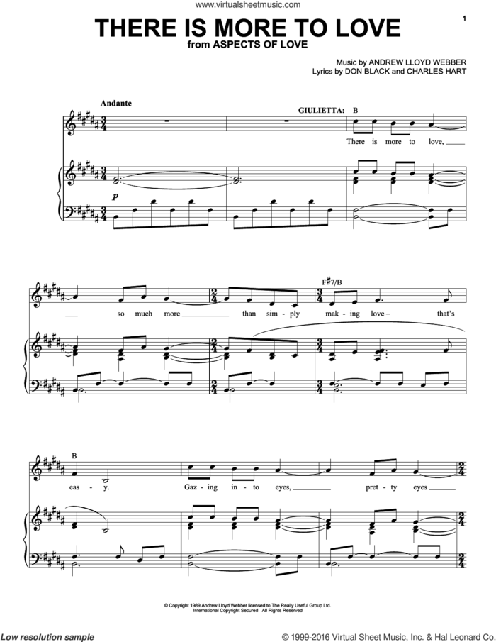 There Is More To Love sheet music for voice and piano by Andrew Lloyd Webber, Aspects Of Love (Musical), Charles Hart and Don Black, intermediate skill level