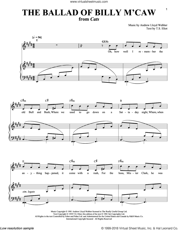 The Ballad Of Billy M'Caw sheet music for voice and piano by Andrew Lloyd Webber, Cats (Musical) and T.S. Eliot, intermediate skill level